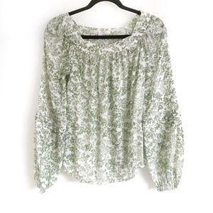 🌼Lauren Conrad Leaf Print Blouse Green Size XS